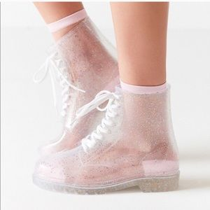 NWOT Urban Outfitters Glitter Jelly Boots 9